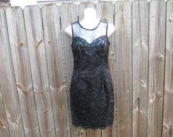 ON SALE - Little Black Dress / Big Bow / Sparkly Iridescent Sequins - Deep V back - Party Dress
