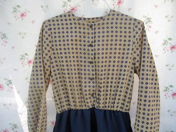 ON SALE - Mad Men Secretary Dress - Joan's Office Dress - Plus Size Vintage Dress, Blue and Tan