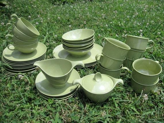ON SALE NOW - Vintage 1960s Avocado Green Melamine Lenox Ware Dinnerware Set - Plate Set - 39 pieces - Sugar and Creamer