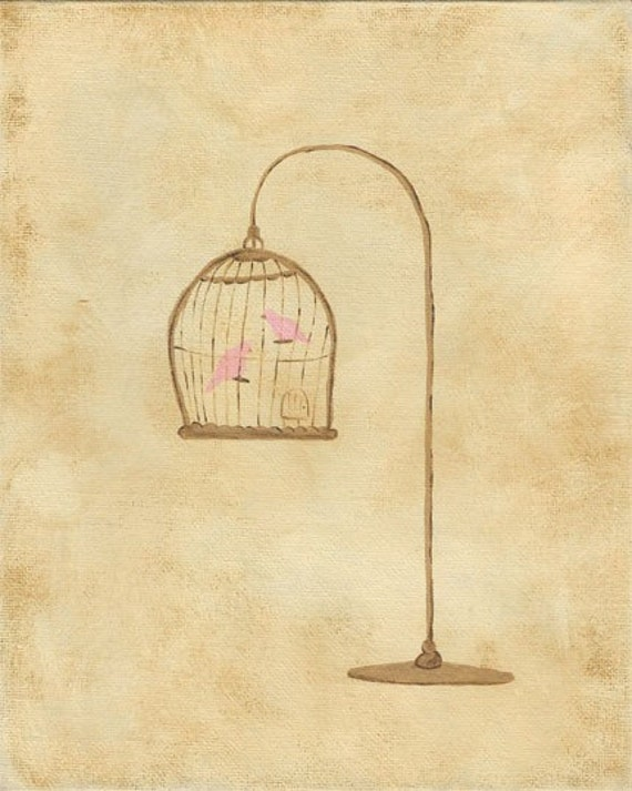 BOGO SALE - Two Birds in a Cage - PRINT 8x10