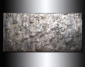 Original Large Abstract Painting Metallic Thick Texture Gallery Canvas Contemporary Fine Art By Henry Parsinia 48x24