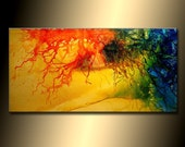 Original Abstract painting, Contemporary Modern Fine Art, Colorful Canvas Art, by Henry Parsinia 48x24