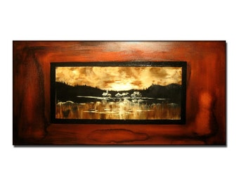 Abstract Painting, Original Modern Abstract landscape Painting, Lake Sunset  Contemporary Fine Art by Henry Parsinia large 48x24