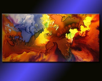 Original PAINTINGS ABSTRACT Contemporary Fine Art by Henry Parsinia Large 48x24