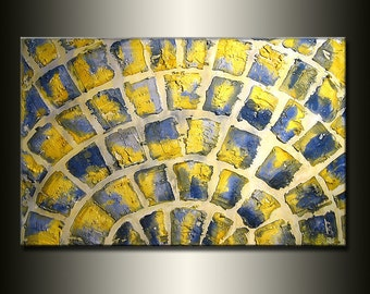 ORIGINAL Painting Abstract Contemporary Fine Art textued by Henry Parsinia Large36x24