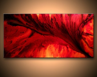 Large Original Abstract painting Red Black Contemporary moder Fine Art by Henry Parsinia 48x24