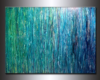 Abstract Painting, Contemporary Fine Art,  Modern Blue, Green Abstract by Henry Parsinia  Oversize 48X36