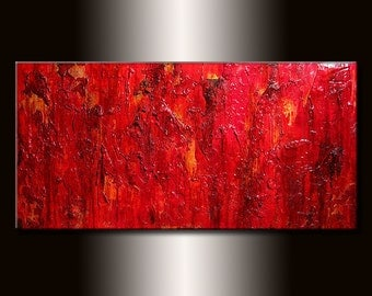 Textured Abstract Painting, Modern Red Abstract Painting, Original Contemporary Textured Art On Canvas by Henry Parsinia