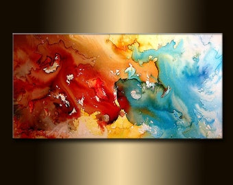 Original Modern Painting, Red And Blue ABSTRACT PAINTING, Contemporary Fine Art by Henry Parsinia Large 48x24
