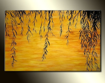 Original landscape Painting, Contemporary Sunset Lake Fine Art, Willow Tree Abstract by Henry Parsinia Large 36x24