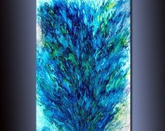 Original Modern Blue Green Abstract painting Contemporary Fine Art by Henry Parsinia Large 36x24