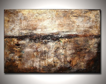 Abstract Painting, Original Modern Abstract, Thick Texture Abstract, Contemporary White Brown Fine Art By Henry Parsinia Large 36x24