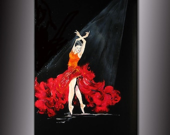 Original Abstract Painting Fine Art Flamenco dancing Girl by Henry Parsinia Large 36x24