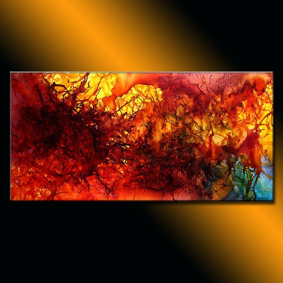 Original Abstract painting  modern Fine Art by Henry Parsinia Large 48x24