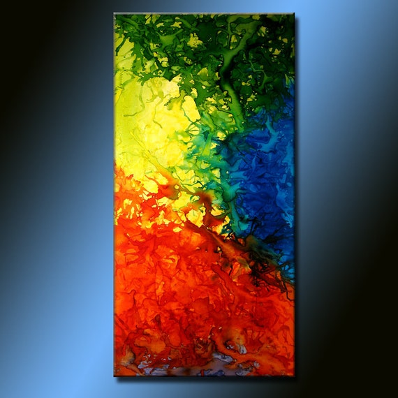 Abstract Painting ,Original Abstract painting Contemporary modern Art  by Henry Parsinia Large 48x24
