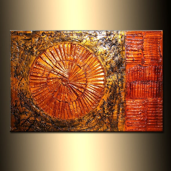 ORIGINAL Rich Texture metallic Gold Copper Modern Palette knife Abstract Painting Contemporary Fine Art by Henry Parsinia Large 36x24