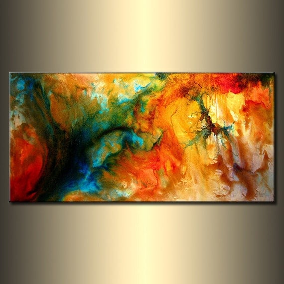 Abstract Painting, Original Abstract painting, Contemporary Modern Fine Art, Colorful Canvas Art, by Henry Parsinia Large 48x24