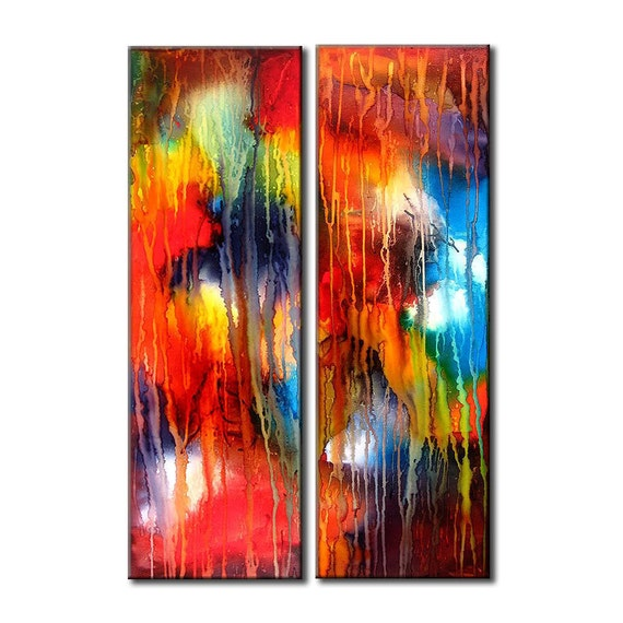 Abstract Painting, Original Modern Colorful Abstract Fine Art, Gallery Painting By Henry Parsinia large 36x24