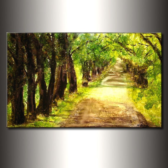Landscape Painting ,Original Modern Landscape Trees Pathway Abstract Painting Fine Art By Henry Parsinia Large 36x24