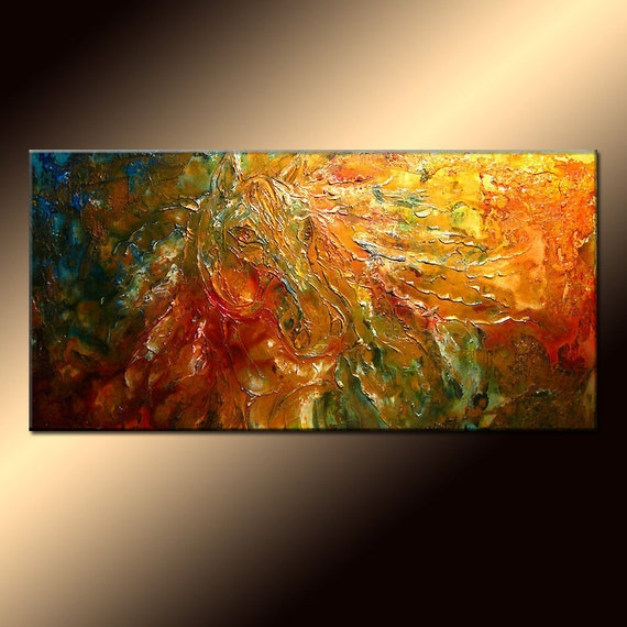 Original Textured Modern Abstract Figurative Impressionism Painting, Contemporary Metallic Horse Painting By Henry Parsinia Large 48x24