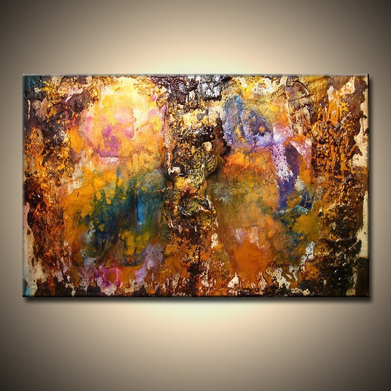 ORIGINAL Abstract Art, Modern Textured Art, Palette Knife Metallic Painting by Henry Parsinia 36x24