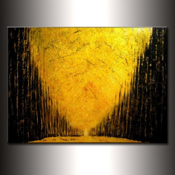 Enormous Original modern landscape autumn pathway Trees Fine Art Gallery Painting by Herny Parsinia Large 48x36