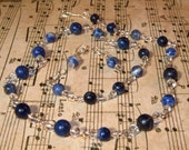 Sodalite and Glass Necklace and Earring Set