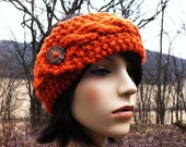 Cable Headband Earwarmer with Recycled Button - Pumpkin - SUPER SALE DISCONTINUED
