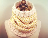 Fair Isle Chevrons Cowl - Ivory and Citron - MADE TO ORDER