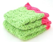 Set of Two Solid Shelled Cotton Washcloths