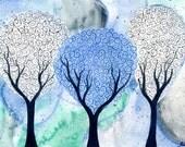 Silver White Winter - original watercolour painting