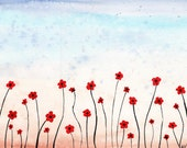 Poppy Field - Original Watercolor Painting