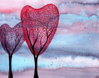 Together at Twilight Time - Original Watercolour romantic tree Painting
