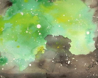 Persistent Illusion - Original watercolor painting inspired by a nebula