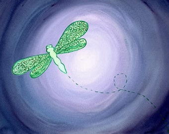 Green Dragonfly - Original watercolour painting by Kirsten Bailey