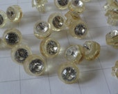 22 vintage clear yellowish plastic buttons with rhinestone