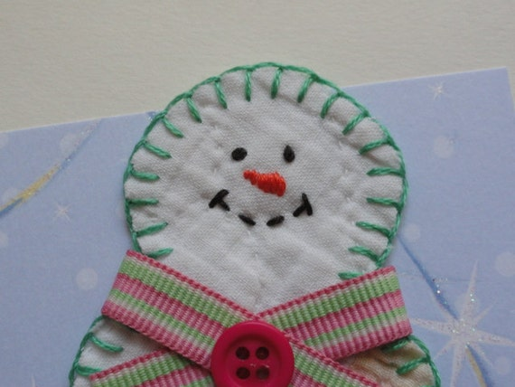 Old Quilt Snowman Note Greeting Card Thank-you Birthday