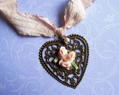 SALE / Victorian Romance Pendant Necklace - Peach Satin Rosebuds and Vintage Bronze Plated Heart on Silk Ribbon