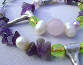 Necklace amathyst gemstone, freshwater pearl, rosequartz