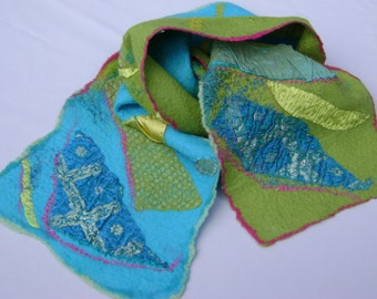 Nuno Felted limegreen and turkquoise scarf, with silk fabric