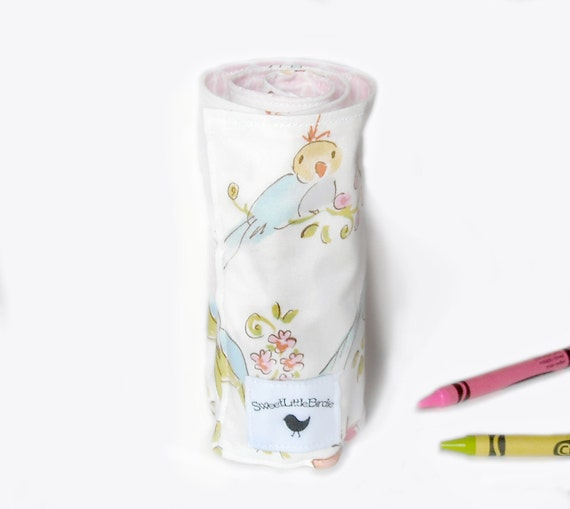 SALE Artistic Me Crayon Roll - Love Birds...24 Crayons included - Ready to Ship