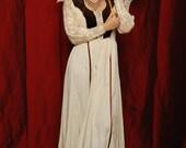 ON SALE Collectible Gunne Sax Dress Victorian long brown velvet  lace crochet trim renaissance medieval