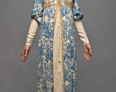 Rare Black label Gunne Sax blue toile print duchess dress