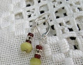 Green Serpentine and Deep Red Carnelian earrings