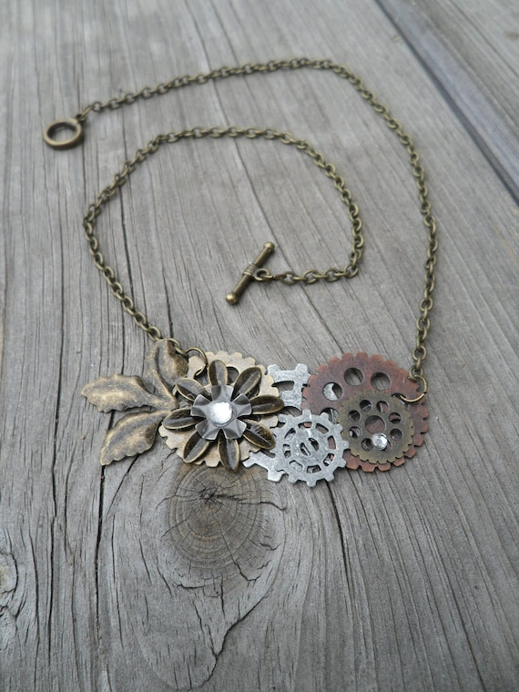 Free Shipping Steampunk Brass Necklace