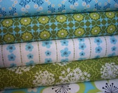 SALE....20% OFF  Pick a Bunch Organics by Nancy Mims, Blues/Green -Fat quarter, 7 total