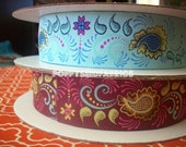 Grand Bazaar ribbon from Patty Young,  Playful Paisley in 2 colors , 1 yd of each