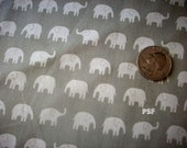 Back in Stock, Daiwabo Japan Fabric, Little White Elephants on GREY , Cotton,  Fat Quarter