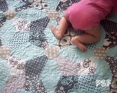 Last one..... Kaleidoscope Quilt Kit, in blues and grey's Crib size blanket, pattern from Cluck Cluck Sew