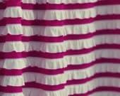 SALE..... Raspberry & Cream Striped Ruffle Fabric, 1/2 yd total